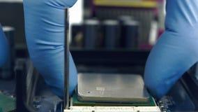 Instalować Komputerowego procesor Od płyty głównej zdjęcie wideo