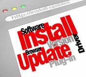 Instaluje oprogramowanie programa aktualizacj Online Komputerowych ściągania Obrazy Stock
