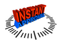 Instant approval. Concept for loans, mortgage, credit cards, profiles, or any other process requiring manual or automatic qualification or approval, words on vector illustration