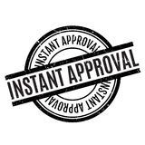 Instant Approval rubber stamp. Grunge design with dust scratches. Effects can be easily removed for a clean, crisp look. Color is easily changed Stock Photo