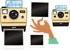 Instant camera elements. Some illustrations of someone using a generic instant print camera. Lots of copy space for your own messages. EPS 10 vector file Stock Photos
