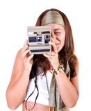 Instant camera in a vintage woman portrait Stock Photos