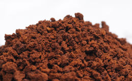 Instant coffee. Close up to brown granulate of instant coffee Stock Image