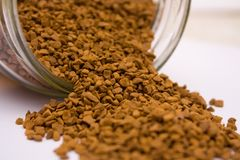 Instant coffee. Closeup  photo of instant coffee in jar Stock Image