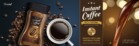 Instant coffee ad vector illustration