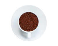 Instant coffee in cup isolated on white background Royalty Free Stock Images