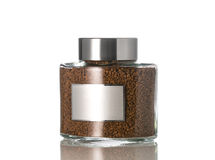 Instant coffee in the glass jar Royalty Free Stock Photos