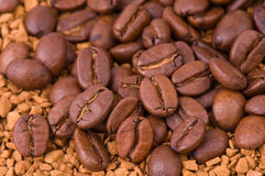 Instant coffee and the grains of coffee Stock Image