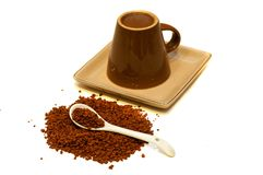 Instant coffee and inverted cup Royalty Free Stock Photography
