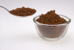 Instant Coffee powder. Against a white background stock photo