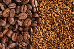 Instant coffee powder and coffee beans Royalty Free Stock Photography
