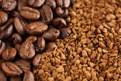 Instant coffee powder and coffee beans Stock Photography