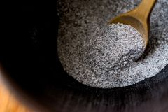Instant coffee powder 3 in 1; mixed with milk powder and sugar in a cup. Stock Images