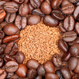 Instant coffee and roasted beans close up Stock Photos