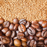 Instant coffee and roasted beans close up Stock Photography