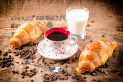 Instant coffee. Selective focus on the cup with the instant coffee Royalty Free Stock Images