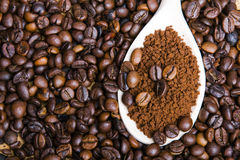 Instant coffee in spoon on coffee beans Stock Photography