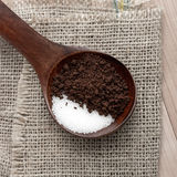 Instant coffee and sugar in spoon Royalty Free Stock Photo