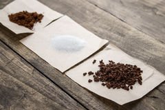 Instant coffee and sugar on the table Royalty Free Stock Photos