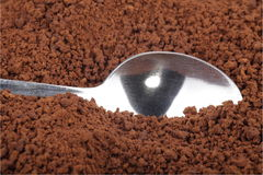 Instant coffee  and teaspoon Stock Photography