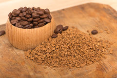 Instant coffee. On a trencher Royalty Free Stock Images