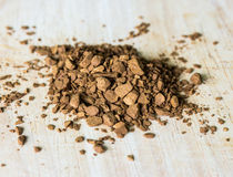 Instant coffee on a wooden Royalty Free Stock Images