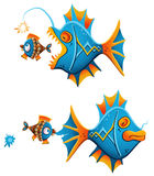 Instant Fight Back. Vector illustration of a bold little fish giving an instant fight back to a big angler fish creeping up from the back Royalty Free Stock Photo