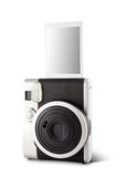 Instant film camera. Beautiful new instant film camera isolated on white Stock Image