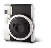 Instant film camera. Beautiful new instant film camera isolated on white Stock Photography