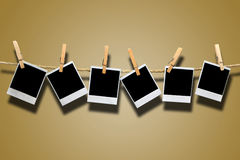 Instant Film Hanging on Rope Royalty Free Stock Photography