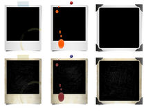 Instant film photos. Six blank instant film photos with stains and spills Stock Photos