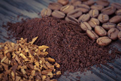Instant, ground coffee and coffee beans Stock Photography