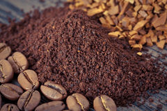 Instant, ground coffee and coffee beans Royalty Free Stock Images