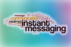 Instant messaging word cloud with abstract background Stock Photography