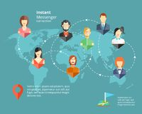 Instant Messenger Concept. Vector global Social Network or Instant Messenger Concept Stock Image