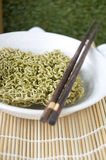 Instant noodle in bowl with chopstick Royalty Free Stock Photos