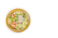 Instant noodle in a bowl  isolated on white background,clipping Royalty Free Stock Images