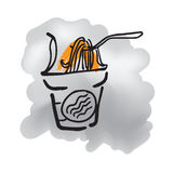 Instant noodle cup doodle drawing Stock Photography
