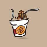 Instant noodle cup doodle drawing color. Instant noodle cup cartoon drawing doodle Stock Photography