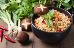 Instant noodle with fresh vegetables. Stock Image