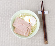 Instant noodle with ham and egg Stock Images