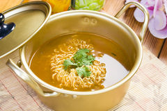 Instant Noodle. This picture shows a pot of boiled instant noodle stock image