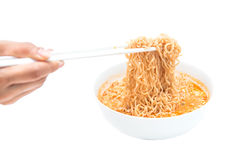 Instant noodle quickly cooking for eat Royalty Free Stock Image