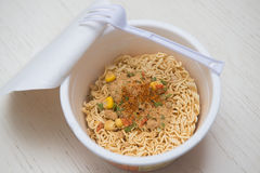 Instant noodle quickly cooking for eat Stock Image