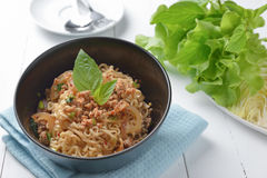 Instant noodle with spicy minced pork salad, minced pork mash wi. Th spicy, Thai food Royalty Free Stock Photo