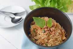 Instant noodle with spicy minced pork salad, minced pork mash wi Stock Photo