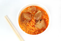 Instant noodle Spicy rib pork with chopstick Stock Images