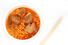 Instant noodle Spicy rib pork with chopstick Royalty Free Stock Images