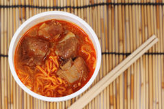 Instant noodle Spicy rib pork Stock Image