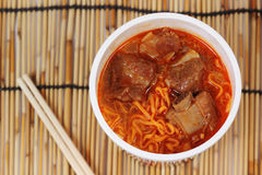 Instant noodle Spicy rib pork Royalty Free Stock Photos